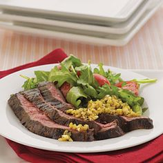 Skirt Steak with Green Olive Tapenade - Cooking Light: 5-Ingredient 15-Minute Recipes.