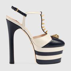 Gucci Donna - Décolleté con plateau in pelle con borchie - 421627C9D104071