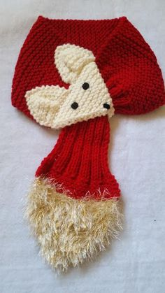 Adjustable KIDS or Adult Fox Scarf Hand Knit by QuiltNCrochet