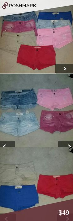 Bundle Of Hollister shorts 8 Hollister shorts  1 dollhouse shorts Size 0 and 1  These were my daughter's and they all fit her at one point so either the ones ran small or the zeros ran big. Shorts Jean Shorts