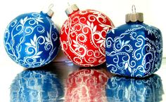 Hand Painted Christmas Ornaments  http://www.etsy.com/listing/84682284/red-and-white-christmas-ornament-hand