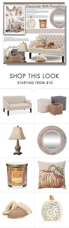 """Decorate with Pumpkins (salted pumpkin caramel candle)"" by farmgirl2015 ❤ liked on Polyvore featuring interior, interiors, interior design, home, home decor, interior decorating, Uttermost, Yankee Candle, Pottery Barn and UGG"