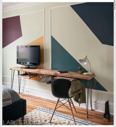 Desk and TV stand space saver rustic boho urban