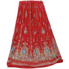 Odishabazaar Womens Long Skirt Red Rayon Sequin Maxi Elastic Waist... (1,805 INR) via Polyvore featuring skirts, elastic waist maxi skirt, ankle length skirt, red skirt, long skirts and sequin maxi skirt
