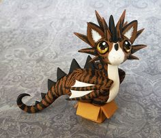 Mowroo - Brown Tabby Cat-Dragon Sculpture