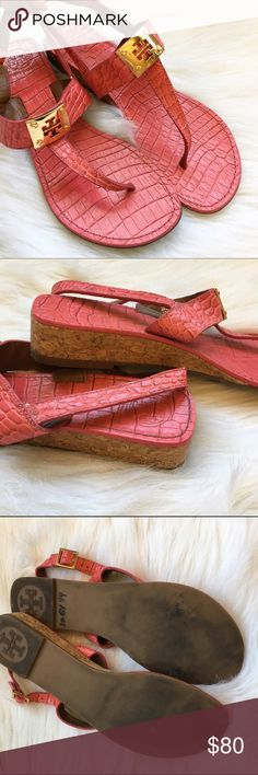 "🌟Tory Butch Wedge Sandals Hot pink Tory Burch cork wedge t strap sandals with gold hardware. Crocodile print. Slight wear to the bottoms and straps, but still in great condition! About an 1"" wedge. Leather uppers and lining. Tory Burch Shoes Sandals"