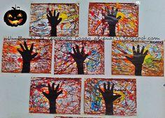 herfstboom - achtergrond beschilderen met touwtjes
