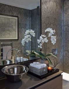 Deco How to decorate with Orchids: Sophie Paterson Interiors Water Leak Prevention Options Those who Bathroom Interior Design, Interior Design Living Room, Bathroom Counter Decor, Elegant Bathroom Decor, Bathroom Flowers, Downstairs Toilet, Bath Decor, Beautiful Bathrooms, Bathroom Inspiration