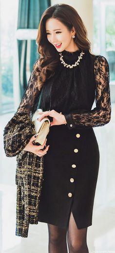 StyleOnme_Diagonal Gold Button Detail Slit Pencil Skirt #frontslit #goldbuttons #black #pencilskirt #elegant #feminine #lace #koreanfashion #kstyle #formal #kfashion #seoul #pretty