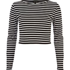 River Island Black long sleeve stripe crop top (1015 DZD) ❤ liked on Polyvore featuring tops, shirts, sweaters, crop tops, long sleeves, sale, stripe shirt, long sleeve tops, long-sleeve shirt and striped crop top