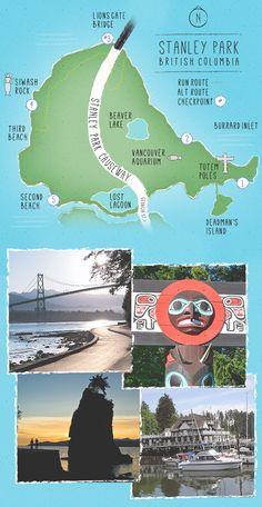 Stanley Park Run Route map - Vancouver British Columbia, Vancouver Vacation, Half Moon Bay Camping, North Vancouver, Stanley Park Vancouver, Vancouver Aquarium, Victoria British, West Coast Road Trip, Lake Beach