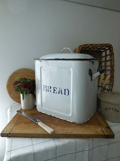 Vintage chippy enamel bread bin from Lavender House Vintage