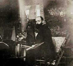 Photo of the French artist Edouard Vuillard (1868-1940) in his studio