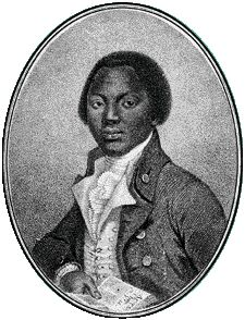 Engraving of Olaudah Equiano, from the frontispiece of the Interesting Narrative. This site has some great resources for teaching about the transatlantic slave trade.