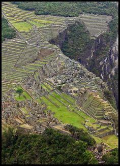 This somewhat aerial view of Machu Picchu was taken from the peak of nearby Wayna Picchu. Description from trekearth.com. I searched for this on bing.com/images