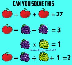 Solve this puzzle containing fruits. Its a healthy puzzle , solve it or make a fruit salad from it.Taken from https://facebook.com/BlowYourMind09