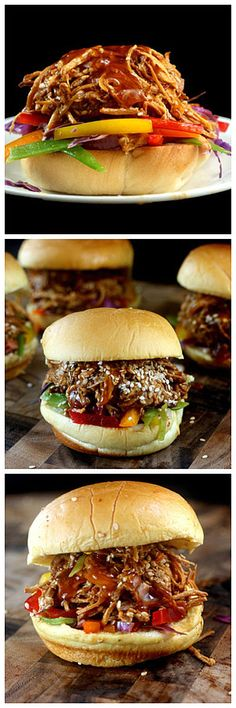 Pulled Honey Sesame Chicken Sliders with the most amazingly dressed, delicious Asian Slaw.  All the flavors of take-out honey sesame chicken in a shredded chicken slider!