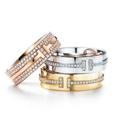 Alliances T for Two en diamants de Tiffany & Co.