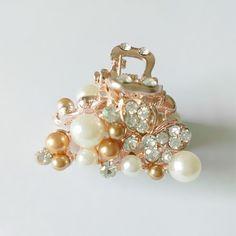 2016 nueva moda para las mujeres de regalo tocado de perlas de Imitación rhinestone mini cangrejo garra clip de la horquilla de Aleación de garra de horquilla