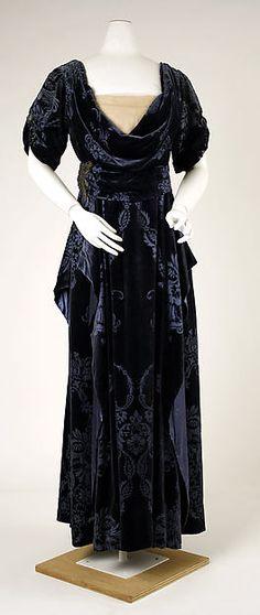 Evening dress Design House:House of Worth Date:1910–11 Culture:French Medium:silk, metallic thread, glass