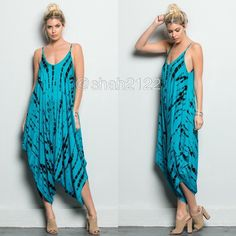 New harem jumpsuit oversized relaxed fit dress ❌PLEASE DON'T BUY THIS LISTING, COMMENT ON SIZE NEEDED FOR SEPARATE LISTING. PRICE IS FIRM UNLESS BUNDLED ❌.  New retails.Harem tie dye jumpsuit dress. Spaghetti straps.oversized loose fit dress..Very comfy and super sexy. Fabric content 95% Rayon and 5% spandex ...Only blue jade /black..Small medium and large. BOUTIQUE Pants Jumpsuits & Rompers