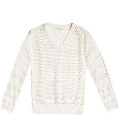 Novelty patchwork-knit sweater  by Chloé. Mesh knit round neck long sleeve jumper. #Matchesfashion
