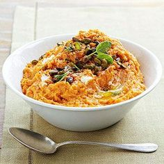 Goat Cheese Mashed Sweet Potatoes. Goat cheese, or chevre, is a little bit tangy, incredibly creamy, and a total knockout when blended into fluffy mashed sweet potatoes. Finish the 30-minute side dish with crunchy roasted pistachios.