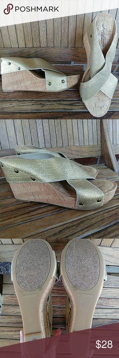 Lucky Brand Miller Cork Wedges sz 8 Super cute and comfortable Miller Cork Wedges in Gold.  Wedge is a 4 inch heel, well padded....worn once! Lucky Brand Shoes Wedges