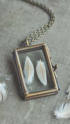 glass specimen locket necklace - feathers