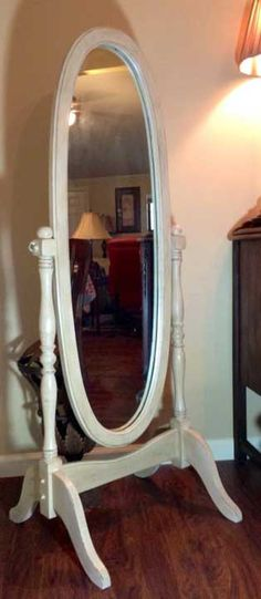 Standing floor mirror refinished with chalk paint and wax.  Now if Canton will just reveal the right one to start with...