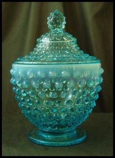 Fenton Blue Opalescent Hobnail Footed Candy Jar