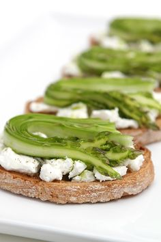 Shaved asparagus and goat cheese bruschetta with chive-infused oil # ...