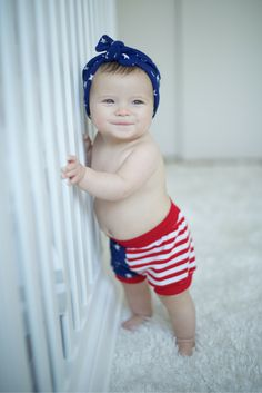 Blue Stars Headwrap & USA flag shorts | headbands and more perfect for every patriotic babe's closet.