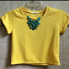 Yellow Quilted Crop Top Beautiful and super comfy. Bought at a boutique, used only once. In new conditions. Washed and air dried. Medium but may fit a small. Boutique Tops Crop Tops