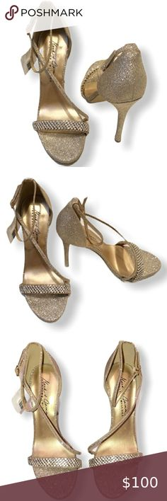 Badgley Mischa By Mark & James Glitter Hee… Badgley Mischa platinum glitter stilettos evening dress shoes. These shoe are gorgeous!! You will get notice in these beauties.   Size:10 Color: platinum Heel 4.5 Badgley Mischka Shoes Heels