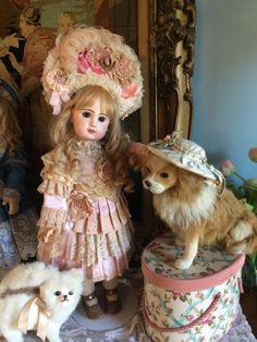 """Just gorgeous and sweet 21"""" tete Jumeau. She is wearing a Couture costume that is so amazing in her. Her human hair is French. Very nice leather shoes. This is for doll only . If you would like a price without costume just ask. 