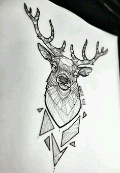 Deer minimal geometric draw