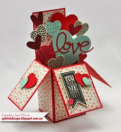Splotch Design - Jacquii McLeay Independent Stampin' Up! Demonstrator: Card box full of hearts. Pop Up Box Cards, 3d Cards, Love Cards, Folded Cards, Stampin Up Cards, Exploding Box Card, Valentine Day Cards, Valentine Heart, Creative Cards
