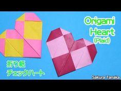Origami Heart (Plaid) / 折り紙 チェックハート 折り方 – Origami World Origami Mouse, Origami Yoda, Origami Star Box, Origami Dragon, Origami Fish, Origami Stars, Valentines Origami, Origami Love Heart, Origami For Beginners