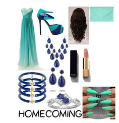 """""""HOMECOMING GUEEN"""" by naythen ❤ liked on Polyvore featuring ShoeDazzle, Blue Nile, Elizabeth and James, Kenneth Jay Lane, WigYouUp, Chanel and Tiffany & Co."""