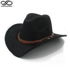 3d7082ec493 Wool Felt Western Cowboy Hat For Womem Men Wide Brim Cowgirl Braid Leather  Band  Unbranded