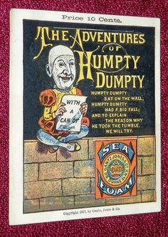 RARE 1877 SCHOENHUT FOX STYLE HUMPTY DUMPTY PAMPHLET COLOR ART after THOMAS NAST