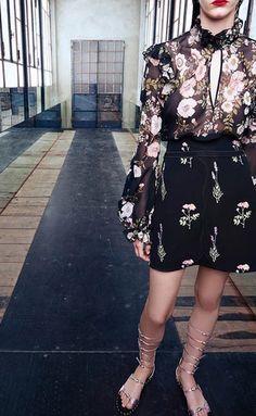 a 2pc, long sleeve, short skirt look