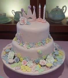 Pretty tea party cake