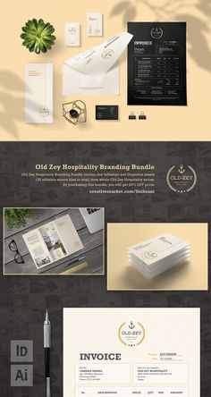 Old Zey Hospitality Branding Bundle contains five InDesign and Illustrator assets (35 editable source files in total) from whole Old Zey Hospitality series) | #accounting #bill #branding #brochure #bundle #businesscard #buyer #collection #commerce #commercial #design #homedecor #homefurnishing #hospitality #identity #indesign #industrial #invoice #paper #payment #printdesign #purchase #quotation #receipt #record #sales #set #stationery #studio #template #transaction #trifold #vector