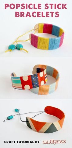Popsicle Stick Bracelets - three simple mess-free ways for the kids to create their own bracelet.