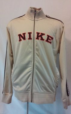 NIKE Men's Tan Jacket large Polyester Full Zip Front Large NIKE Orange Logo  #Nike #BasicJacket