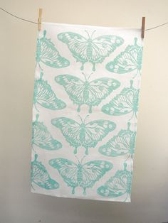 Butterfly hand printed in robins egg, celery green or sky blue on white linen tea towel 16 x 27