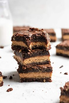 A stack of peanut butter brownies with a bite taken out of the top one. Best Peanut Butter, Peanut Butter Filling, Peanut Butter Desserts, Peanut Butter Brownies, Peanut Butter Cups, Easy Desserts, Dessert Recipes, Baking Desserts, Health Desserts