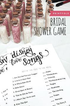 FREE wedding printable: Disney love songs game by Designs by Miss Mandee